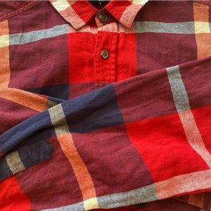 Red, blue, and white flannel